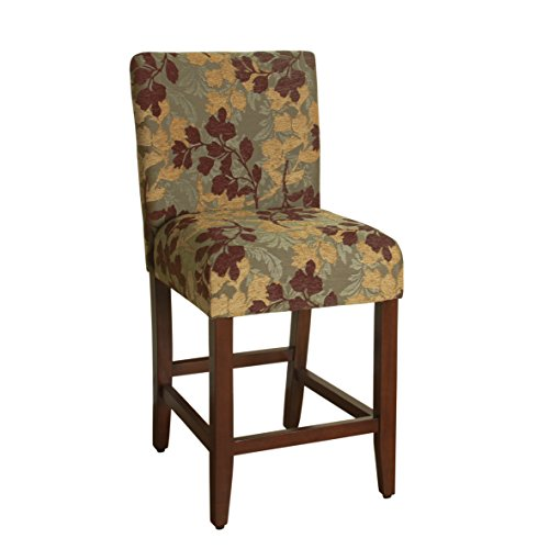 HomePop Upholstered Counter Height Barstool, 24-inch, Brown and Sage Chenille