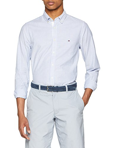 Tommy Hilfiger Herren CORE Stretch Slim Stripe Freizeithemd, Mehrfarbig (Shirt Blue/Bright White 902), Medium