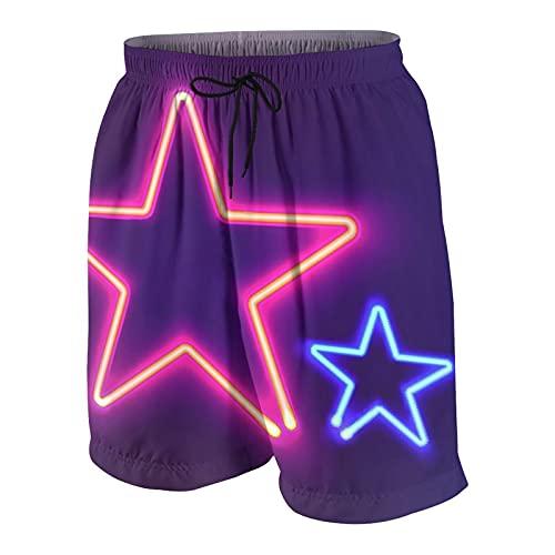 De Los Hombres Casual Pantalones Cortos,Luz rosada Dos estrellas de neón brillantes Tablero de letrero colorido brillante para su diseño Azul,Traje de Baño Playa Ropa de Deporte con Forro de Malla