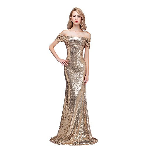 honey qiao Sequins Off The Shoulder Bridesmaid Dresses Long Pleats Prom Party Gowns Gold 10