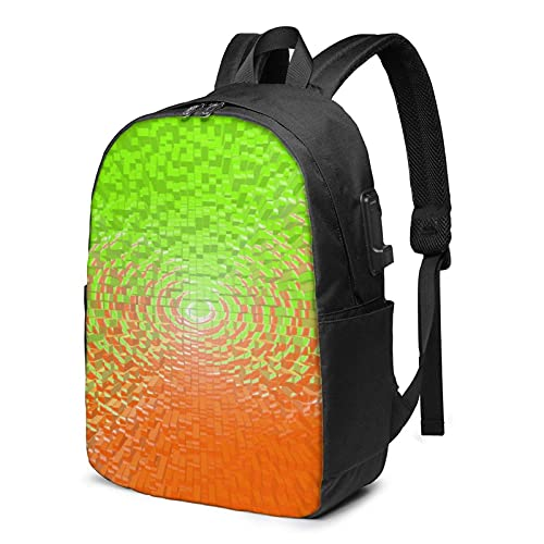 XCNGG Green and Orange Travel Laptop Backpack, Backpack with USB Charging Port, for Men Women Fits 17 Inch