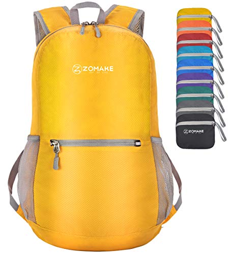 ZOMAKE Ultra Lightweight Foldable Backpack Water Resistant Hiking Daypack, Unisex Small Rucksack for Travel & Outdoor Sports (Yellow)