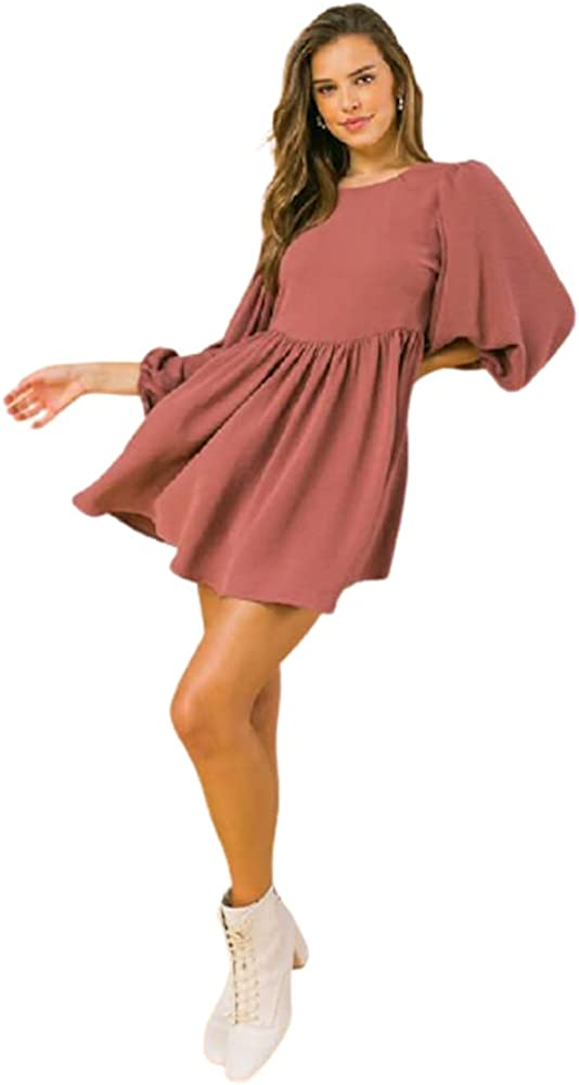 Women's textured solid woven mini dress