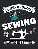 Sewing Makes It Better - ... La costura lo hace mejor: Cuaderno | Notebook | A cuadros, 21,59x27,94 cm (8, 5'x11'), 120 páginas, color crema, cubierta mate