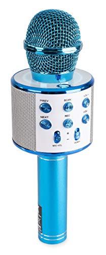 MAX KM01 Karaoke Microfoon voor Kinderen met o.a. Bluetooth, Ingebouwde Speakers, Micro SD, USB, Stemvervormer - Blauw