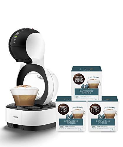 Krups KP1301 Nescafé Dolce Gusto Lumio Kapsel Kaffeemaschine, weiß, 1,0 l + Cappuccino Intenso | 48 Kaffeekapseln | Arabica und Robusta Bohnen | Aromaversiegelte Kapseln | 3er Pack (3 x 16 Kapseln)