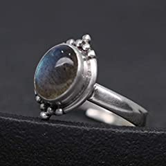Luna Azure Sterling Silver Moonstone Engraved Vintage Adjustable Ring (JJ01-JZ0013A) #3