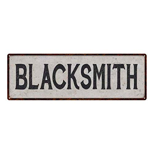 PotteLove Blacksmith Vintage Look Reproduction Black on White Metal Sign, 4 in X 12 in Wall Art Decor