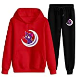Jsmllia Adult sai-l-or moo-n lu-na Hoodies and Sweatpants Tracksuits Sets,2 Piece Outfit Jogging Suit for Men Women Medium