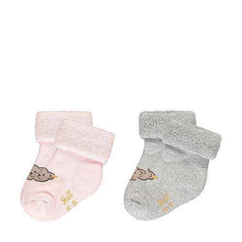 Steiff Unisex Baby mit Teddybärmotiv Socken,  Rosa/Grau (Barely Pink 2560), 13-14