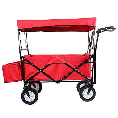 Tuinwagen Opvouwbare Trek Wagon Handwagen met Afneembare Luifel Tuin Transport Winkelwagen Inklapbaar Draagbare Vouwwagen