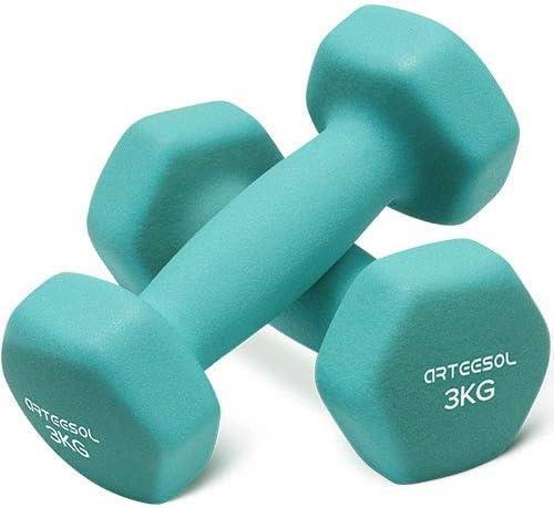 arteesol Juego de 2 mancuernas de neopreno, 1 kg/2 kg/3 kg/4 kg/5 kg/8 kg/10 kg, antideslizantes, para entrenamiento de fuerza, gimnasia.