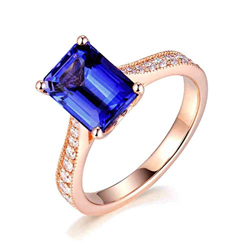 Daesar Anillos de Oro Rosa Para Mujer 18K,Rectángulo Tanzanita Azul 4ct Diamante 0.27ct,Oro Rosa Azul Talla 25