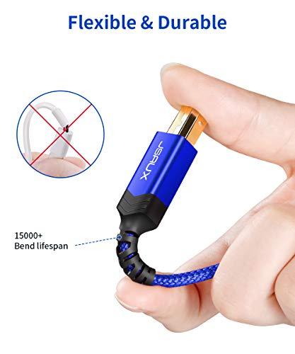 JSAUX Cable Impresora USB [3M] Duradero Cable Impresora Cable Tipo B 2.0 Compatible para Impresora HP, Epson,Canon,Brother,Lexmark,Escáner,Disco Duro,Fotografía Digital y Otros Dispositivos-Aluz