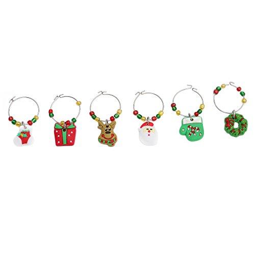 VWH 6Pcs Joyeux Noël Pendentifs en Verre de Vin Anneau Marqueur Boucles d'oreilles Wine Glass Charms Décoration de Fête (1#)
