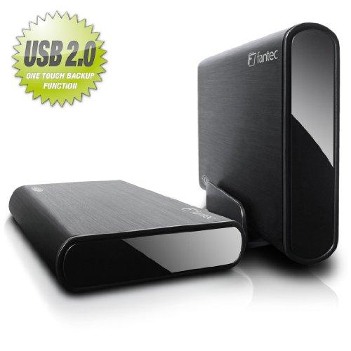 'fantec boîtier Externe en Aluminium (8,9cm (3,5) SATA, HDD avec Fonction Backup, Noir USB 2.0/SATA sans Disque Dur Noir