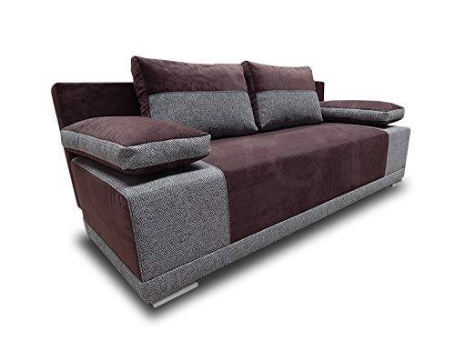 Schlafsofa Roxy - Bettsofa, Sofa mit Schlaffunktion, Klappsofa mit Bettfunktion, mit Bettkasten, Couchgarnitur, Couch, Sofagarnitur (Braun + Grau (Doti 25 + Bering 90))