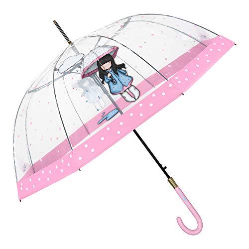 Santoro Gorjuss Paraguas Transparente Cupula Puddles of Love Mujer Niña - Paraguas Clasico Burbuja Estampado Muñeca Dots y Borde Rosa - Paraguas Antiviento Robusto Automatico - Diametro 89 cm