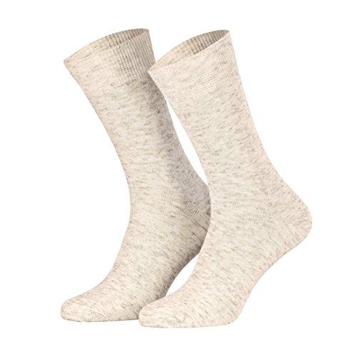 Piarini 4 Paar Leinensocken handgekettelt - Damen Herren Socken Baumwolle atmungsaktiv naturmeliert - Beige Gr. 43-46