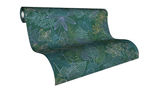 Livingwalls Vliestapete Colibri Tapete in Dschungel Optik 10,05 m x 0,53 m grün blau lila Made in Germany 366302 36630-2