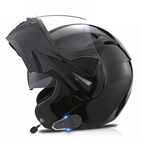 Casco de Moto Bluetooth Integrado, Radio FM Incorporada, Dispositivo de Conexión Bluetooth para Mujeres y Hombres ECE Homologado 26,XL(61-62)