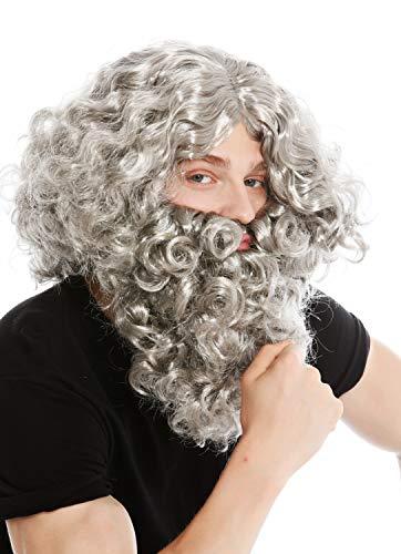 WIG ME UP - 8115-A+B-P68 Peluca Barba Set Gris eremita ermitaño bárbaro profeta Moisés Noé Mago hechicero