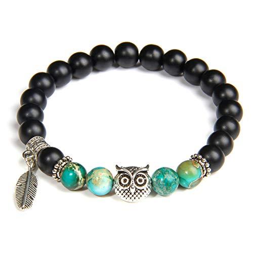 GROPC Beaded Bracelet,Natural,Handmade Blue Amazonite Stone Beads Bracelet Fashion Black Agate Beaded Owl Pendant Lucky Fashion Stretch Wrist Bangle Bracelet Women Men Couple Friend Gift(Green)