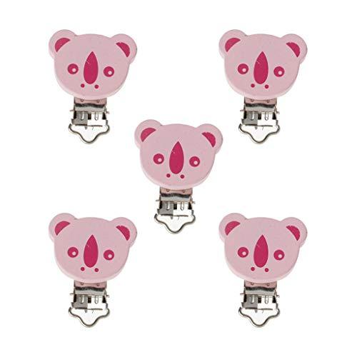 5 Teile/Los Holz Baby Kinder Schnuller Halter Clip Infant Niedlichen Tier Nippelspangen Für Baby Produkt Baby Beißring Spielzeug