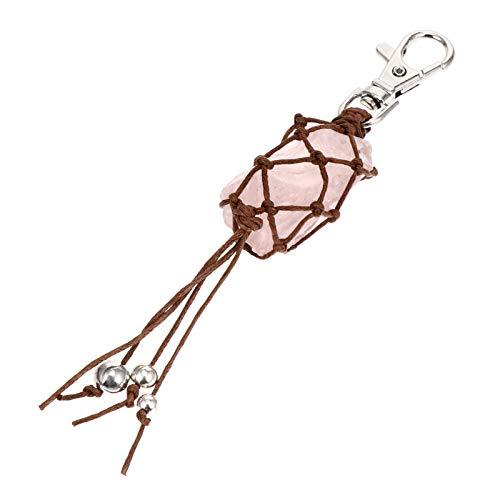 BESPORTBLE Keychain de Cristal de Cura Pedra Pingente Pendurado Sorte Naturais de Cristal Rosa Charme Chaveiro Com Pingente de Pérolas Enfeite para O Saco Da Bolsa Mochila