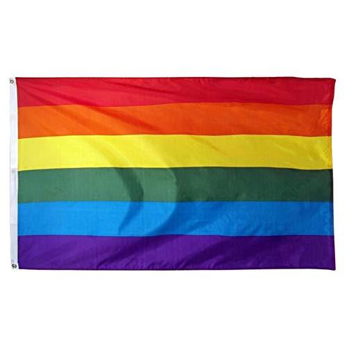 Fablcrew 1Pcs Drapeau Arc-en-Ciel LGBT Rainbow Flag Gay Lesbien Bisexuel Pride Parade 60x90 CM