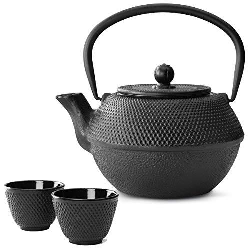 IBILI Tetera Asiatisch Set de Hierro Fundido 1.2 L, con Filtro de té de Colador con – Taza de té (2 Tazas)