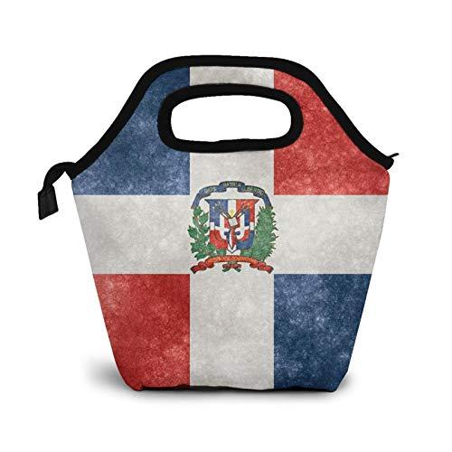 Banderas de la República Dominicana retro pequeñas bolsas de almuerzo para mujeres niños impermeable aisladas lonchera para el trabajo de la escuela