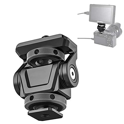 HAFOKO U-150 Balhoofd Verstelbare Hoek Camera Koude Schoen Mount Monitor Beugel Houder Adapter 180° Bovenste Rotatie 360 ° met 1/4 Schroef voor Video Opname Fotografie Accessoires (Capaciteit 3 kg)