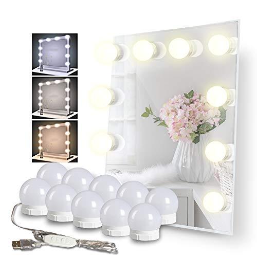 Schminktisch Beleuchtung, Meqlin 3 Farben Hollywood Stil Schminktisch Spiegel Leuchte für Kosmetikspiegel, 10 Glühbirnen Dimmbare Spiegel Beleuchtung Einfache Montage& Anpassung an Jede Spiegelgröße