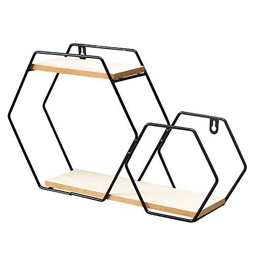 2 Tier Geometrische Metalen Zwevende Wandplank Nordic-Stijl Zwevende Planken Hoge Capaciteit Wandplanken Voor Slaapkamer Woonkamer Badkamer Keuken,Black