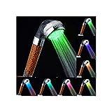 Alcachofa de ducha con luz LED de 7 colores cambiantes, para agua a presión, con iones negativos, filtro doble para cloro y vaporizar, ahorro de agua, plástico abs