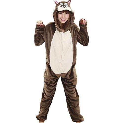 QYNQHY Frauen-Strampler-Tierkarikatur-Eichhörnchen-Pyjama-Beiläufiger Lustiger Partei-Overall-Erwachsenes Rollenspiel-Kostüm-Winter-Warme Flanell-Nachtwäsche