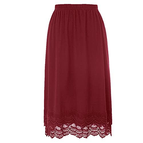 N\P Extension de jupe en coton pour femme avec taille élastique et bordure en dentelle - Rouge - XXL