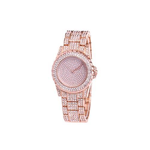 Reloj de Pulsera para Mujer de Acero Inoxidable de HEMOBLLO, con Brillantes de imitación, para Mujer, Regalo para Mujer (Oro Rosa)