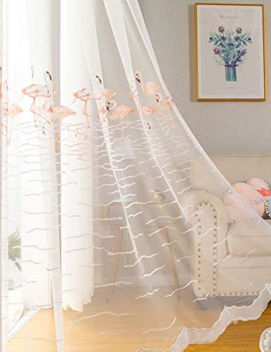Lactraum Gardine Kinderzimmer Mädchen Prinzessin Transparent Bestickt Rosa Flamingo Voile mit Ösen 100 x 245 cm