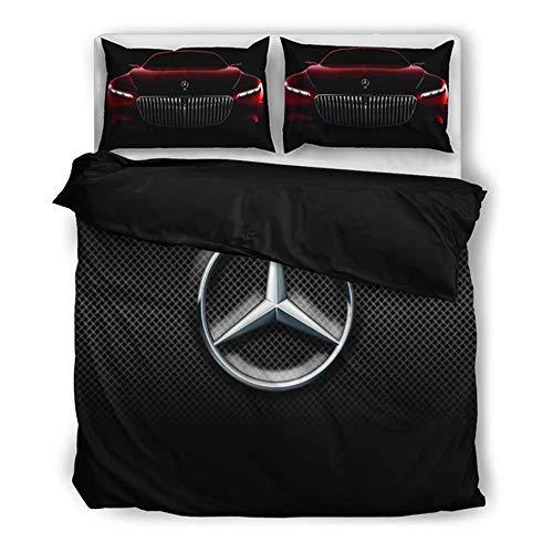 SKJYAYA Juego de Cama 3 Piezas Edredón Microfibra por Mercedes-Ben.Z Impreso Suave Y Suave Funda Nordica Cubrir con 2 Pillowcase Casa/A / 173x218cm