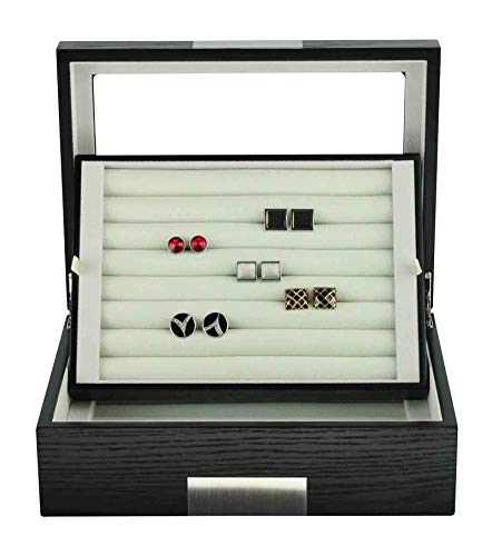TIMELYBUYS Black Ebony Wood Cufflink Case & Ring Storage Organizer with Stainless Steel Engravable Design Accent Men