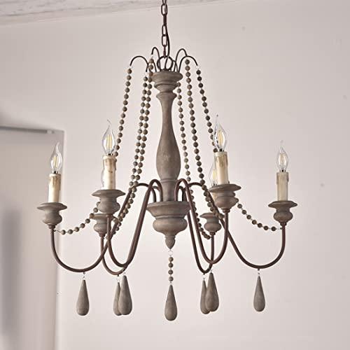 Lampada Da Soffitto, Tallone In Legno In Legno Di Candela Francese Swago In Legno Lampadario In Legno, Portalampada E14 Grigio (Size : 6-light)