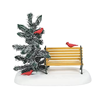 Department 56 Village Accessories Cardinal Christmas Bench Figurine 3.375 Inch Multicolor