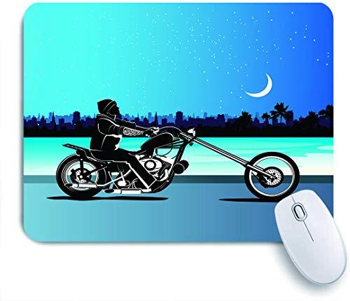 Marutuki Gaming Mouse Pad Rutschfeste Gummibasis,Kunst mit Chopper Motorrad Biker Reiten Sternenhimmel Stadtbild Silhouette,für Computer Laptop Office Desk,240 x 200mm