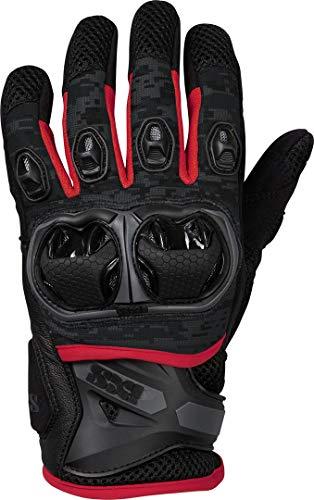 IXS Motorradhandschuhe kurz Motorrad Handschuh Montevideo Air S LT Handschuh schwarz/grau/rot L, Herren, Tourer, Ganzjährig, Leder