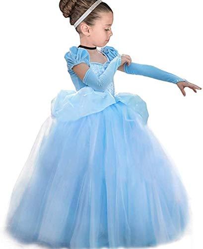 TYHTYM シンデレラ ドレス キッズ (プリンセスドレス+アームカバー)2点セット 100-140cmスカート6層構造 コスプレ 衣装 仮装 着心地よい 動きやすく ふんわり お姫様 ワンピース キッズコスチューム・変身・なりきり 誕生日/パーディー/