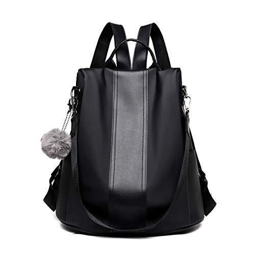 Zaino da donna, borsa a tracolla antifurto per scuola, zaino alla moda, impermeabile, in nylon, colore nero