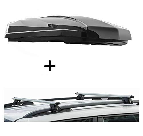 Dakbox Strike 440 liter zwart hoogglans + raildrager CRV135 compatibel met Mercedes Vaneo vanaf 02