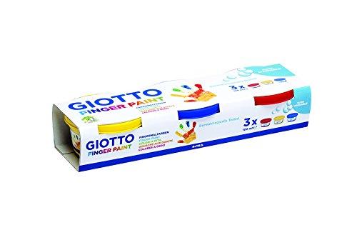 Giotto Pack de 3 Botes para Pintura a Dedos, 3 / Mehrfarbig, 25.7 x 5 x 8.5 cm, 3